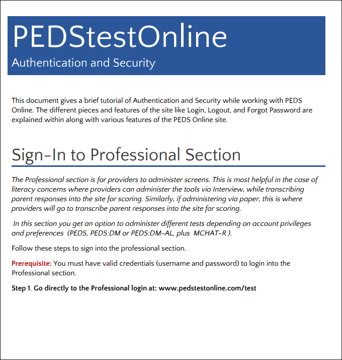 PEDS Online Brief Guide